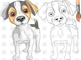 coloring book for children cute puppy of dog jack russell