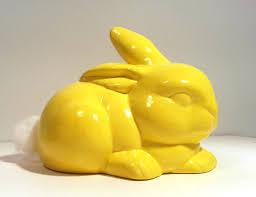 bunny cotton holder handmade ceramic bunny cotton holder in yellow glaze vintage mold
