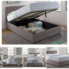 Headboard Bed Frame New Size Bed Frame With Shoe Storage Tufted Headboard Linen