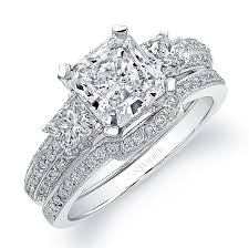 diamond wedding sets 14k white gold prong set three diamond bridal set