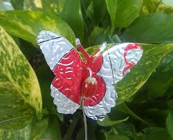 decorative upcycled butterflies for the garden or indoor plants