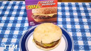 dollar tree fast bites cheeseburger review frozen burger cooked in