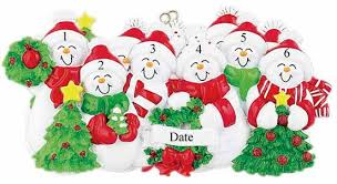 buy snowman family of 6 with and green scarves ornament