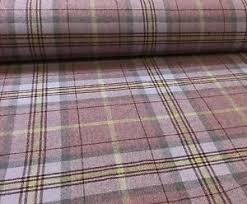 Pink Tartan Curtains Pink Plaid Check Tartan Wool Fabric Uk Woven