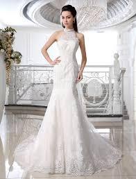 ivory wedding gown mermaid lace satin wedding dress milanoo com