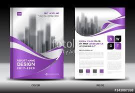 annual report brochure flyer template purple cover design