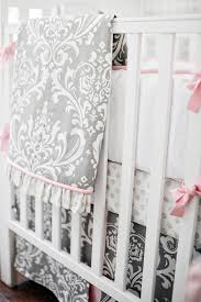 Pink And Gray Crib Bedding Pink And Gray Baby Bedding Pink And Grey Nursery Bedding Pink
