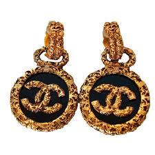 90 s earrings 90s chanel baroque medallion earrings gold black cc logo dangle