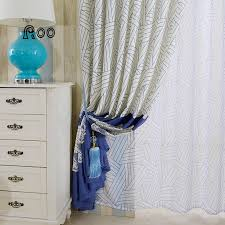 White Contemporary Curtains White Blue Poly Cotton Geometric Curtains