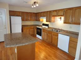 White Kitchen Cabinets With White Appliances Finished Kitchen Using Our Oak Rta Kitchen Cabinets Center Island