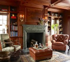 library fireplace with coffer home office traditional and