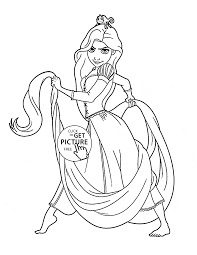 serious princess rapunzel coloring page for kids disney princess