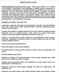 Sample Resume For Payroll Assistant by Payroll Clerk Job Description Sample 9 Examples In Word Pdf