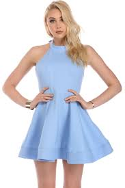 light blue dress light blue bow back skater dress