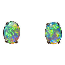 turquoise opal earrings green opal earrings 14k white gold studs flashopal