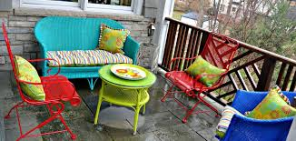 How To Paint Wrought Iron Patio Furniture by Spray Painted Brightly Colored Wicker And Wrought Iron Patio