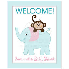 monkey and elephant pink gray teal 8x10 welcome party sign