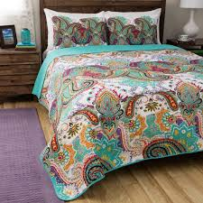turquoise quilted coverlet greenland home fashions nirvana paisley cotton 3 piece quilt set