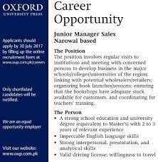 Sample Resume For Zonal Sales Manager by Oxford University Press Junior Manager Sales Narowal Jobs Mbamess