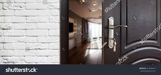 half opened door living room door stock photo 414965416 shutterstock