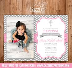 printable baptism or christening invitation pink and gray