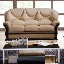 Wooden Sofa Come Bed Design by Almond Italian Leather Sofa Bed With Wooden Accents Esf926