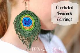 peacock feather earrings peacock feather earrings free crochet pattern