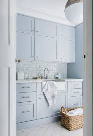 Light Blue Cabinets Sydney Laundry Sink Cabinet Room Transitional With White Benchtop