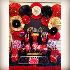 black red and gold candy table candy dessert buffet table