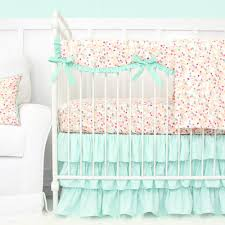 Mini Crib Baby Bedding by Mini Floral Mint Pastel Baby Bedding Caden Lane