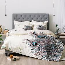 Peacock Feather Comforter Set Monika Strigel Boho Peacock Feathers Shower Curtain Deny Designs
