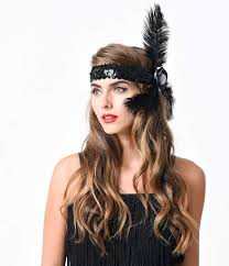 flapper headband black sequined glitter feather flapper headband unique