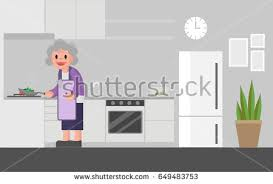 Cooks In The Kitchen by Grandmother Cooking Kitchen Senior Woman Cooks Stock Vector