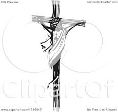 clipart of a black and white woodcut scene of jesus on the cross