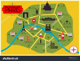Map Paris France by City Map Illustration Of Paris Landmarks And Vector Map Icons