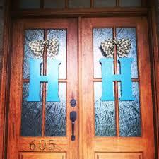 monogram front door hangers letters for yellow doors red metal