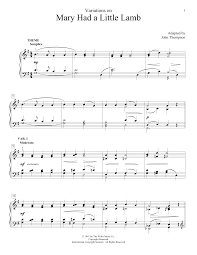Three Blind Mice Piano Notes Variations On Mary Had A Little Lamb Sheet Music Direct