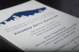 seattle skyline wedding invitations pike press