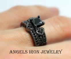 steunk engagement ring black engagement ring set princess cut wedding anniversary promise