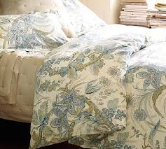 Pottery Barn Toile Bedding Floral Duvet Set With Green And Blue Sydney Palampore Organic