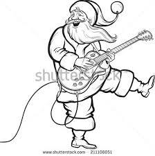 vector illustration coloring book santa playing stock vector