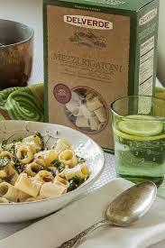 mezzi rigatoni with saffron creme tuscan kale and crispy prosciutto
