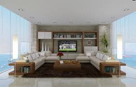 fancy living room decorated with huge glass windows and two l