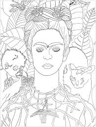 frida khalo self portrait master pieces coloring pages for