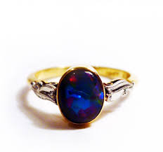 dark blue opal 1950s black opal ring blackheath jewellery
