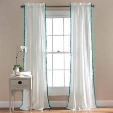 White Window Curtains Pom Pom Window Curtains Walmart