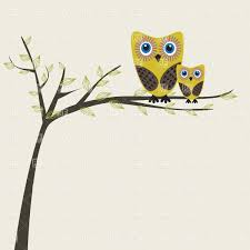 two owls on a tree branch vector clipart image 22825