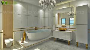 classic bathroom design with golden accessories by 3d yantram