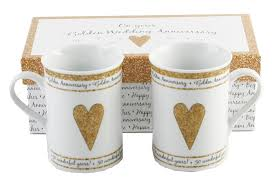 50 wedding anniversary gift ideas 50th golden wedding anniversary gift set ceramic mugs
