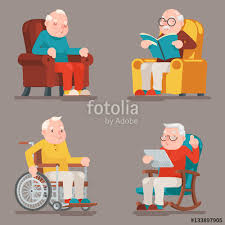 Cartoon Armchair Grandfather Old Man Characters Sit Sleep Web Surfing Read Armchair